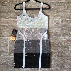 Bebe Metallic Ombré Sequin Bondage Dress - M